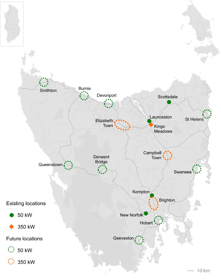 Map of existing and future fast chargers in Tasmania